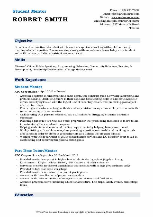 mentor resume samples