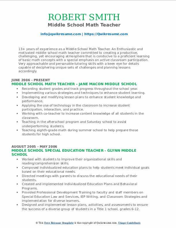 resume math teacher - Pinarkubkireklamowe