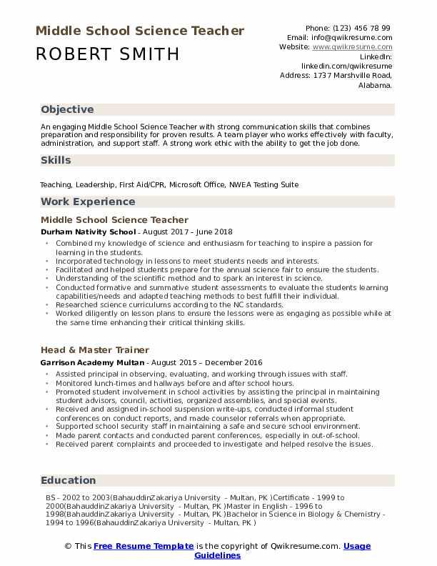 science teacher resume
