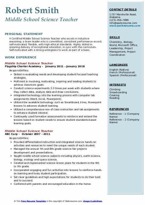 resume examples science teacher
