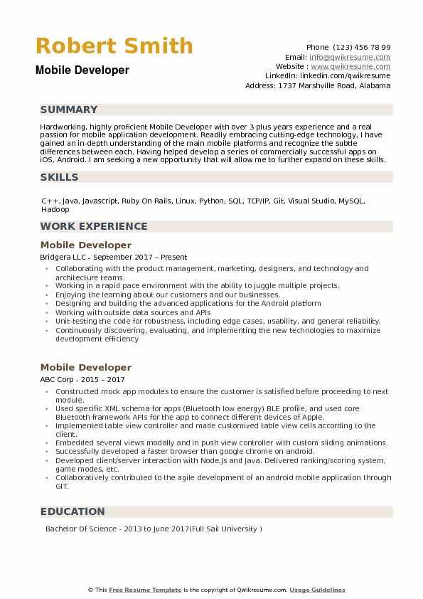 Mobile Developer Resume Samples QwikResume
