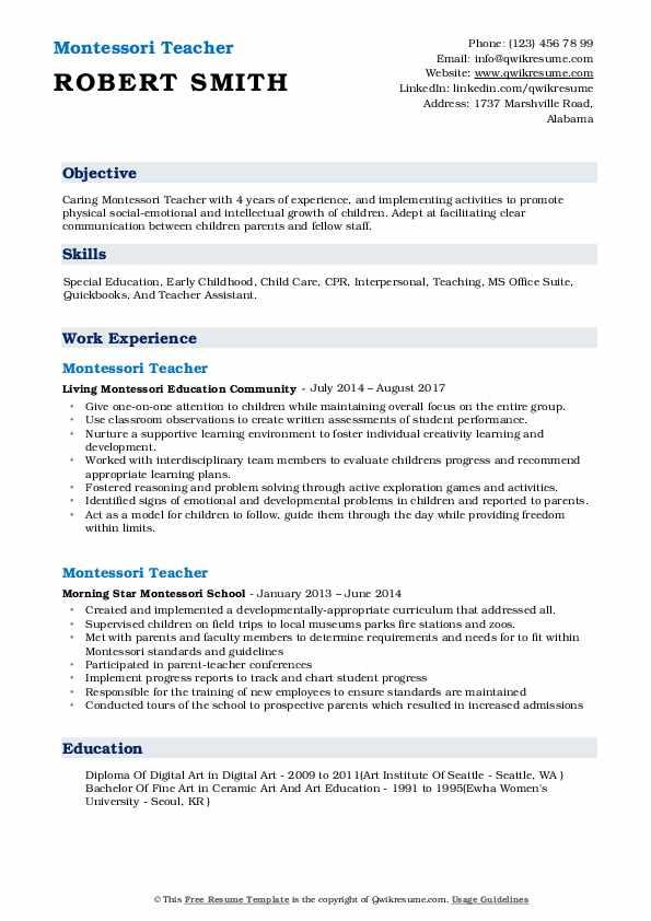 resume for montessori teacher assistant