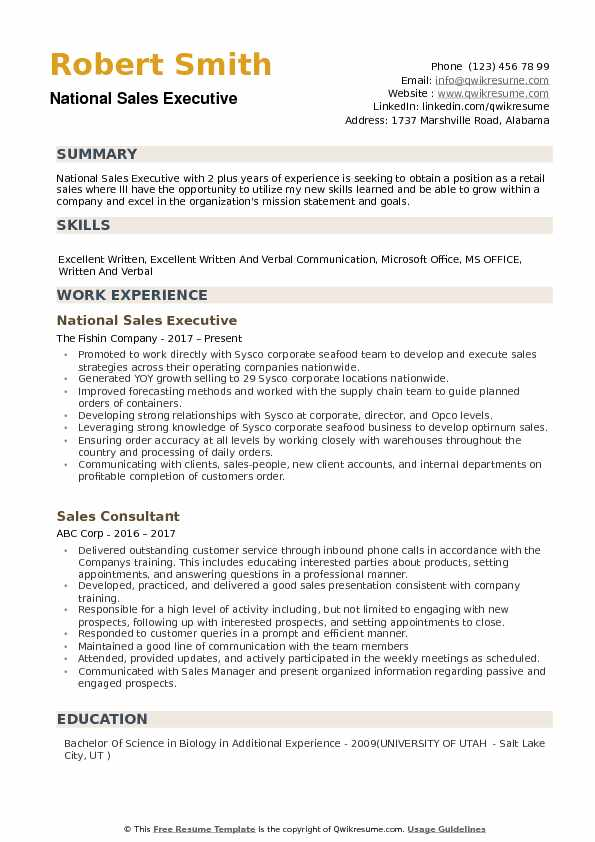 National Sales Executive Resume Samples QwikResume - Sales Executive Resume Template