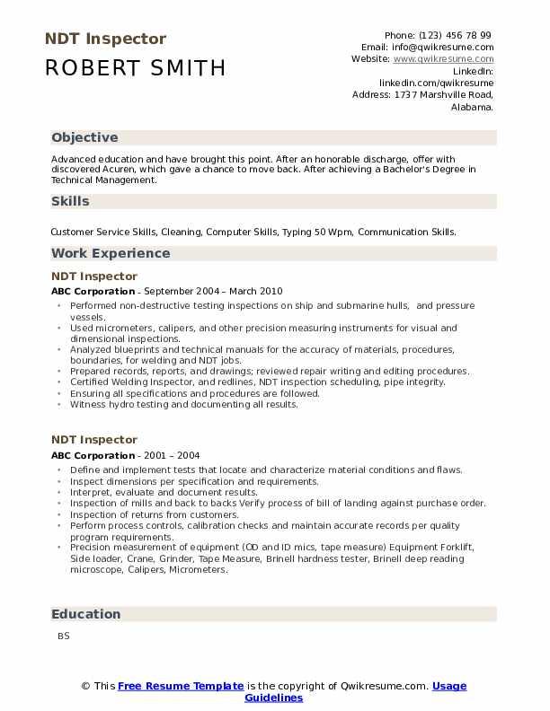 ndt inspector resume sample