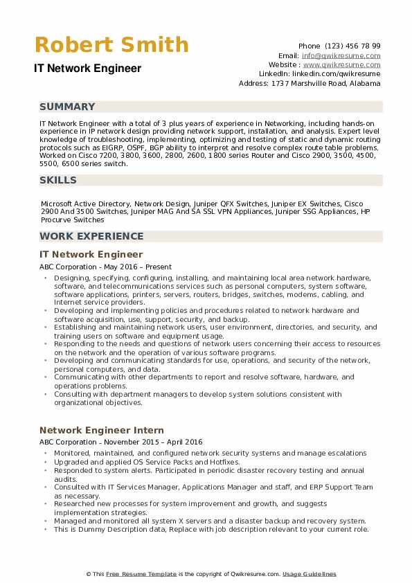network routing engineer resume example