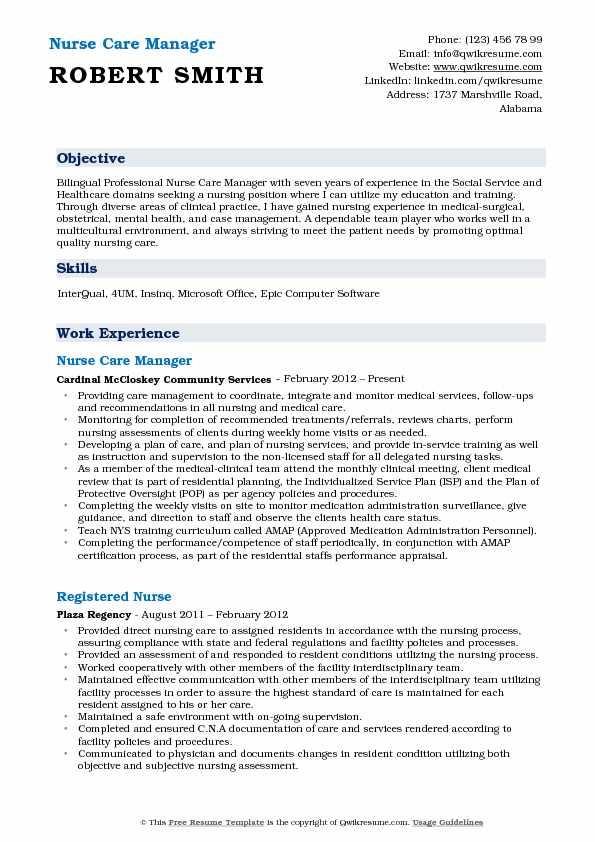Nurse Care Manager Resume Samples QwikResume