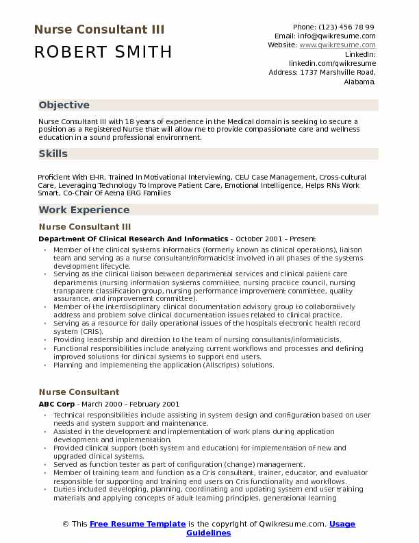 resume for a nurse consultant