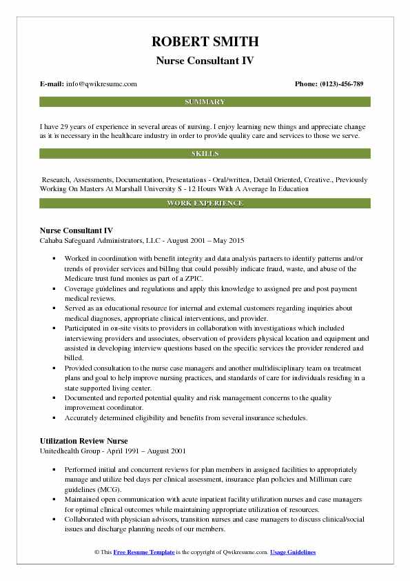 Nurse Consultant Resume Samples QwikResume