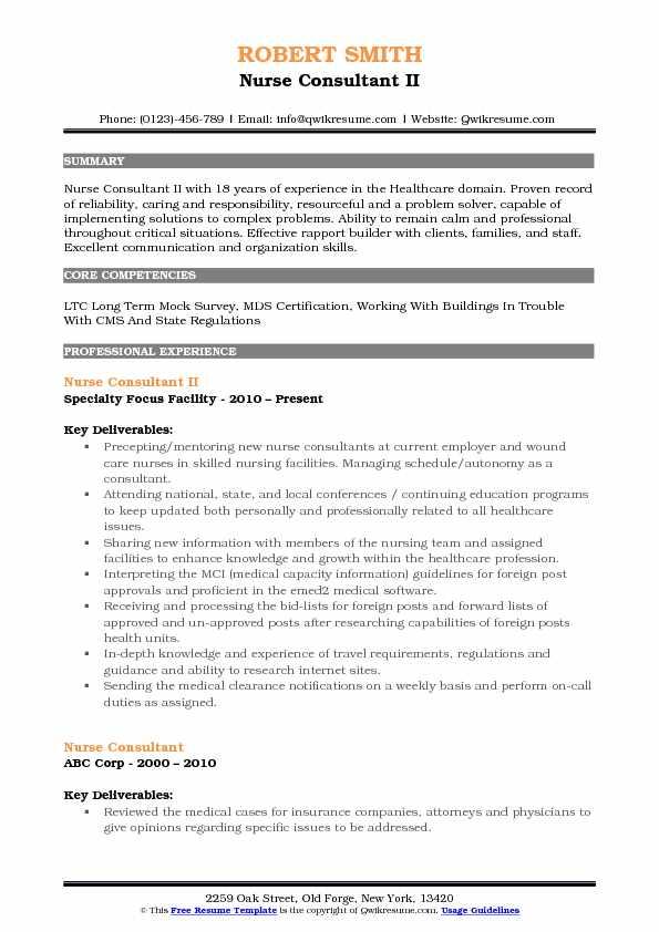 Nurse Consultant Resume Samples QwikResume - mds nurse sample resume