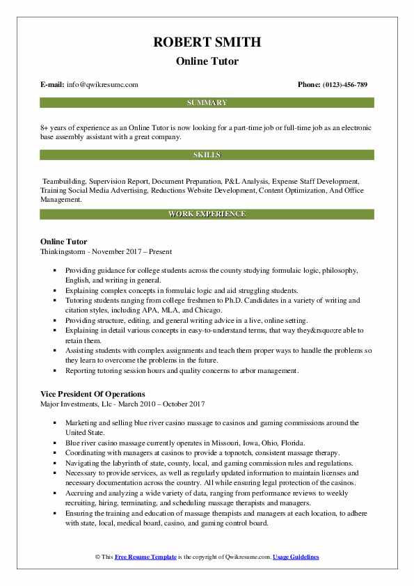 Online Tutor Resume Samples QwikResume