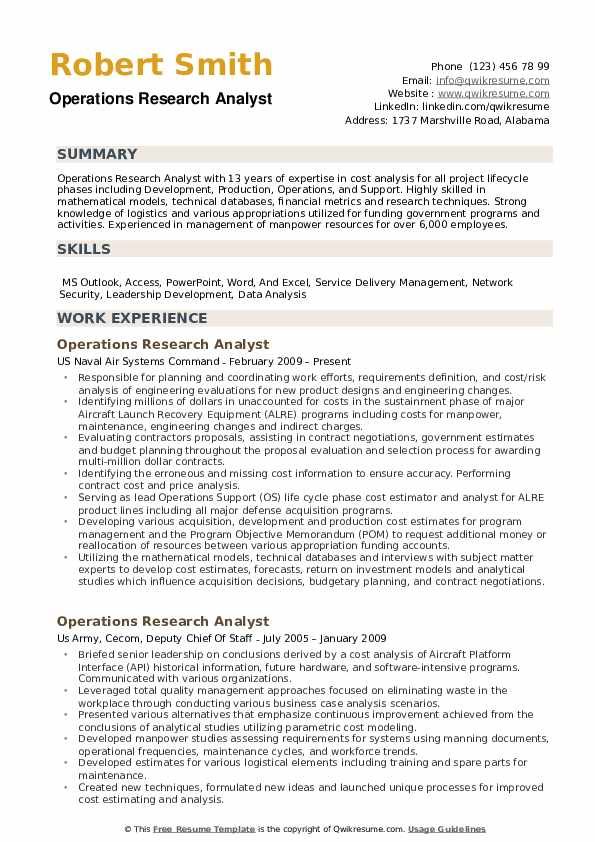 Operations Research Analyst Resume Samples QwikResume