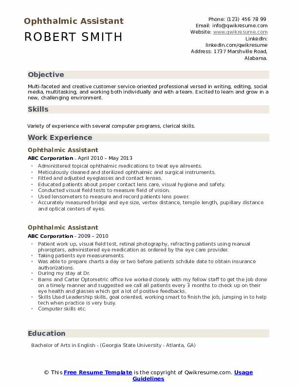 certified ophthalmic assistant resume sample