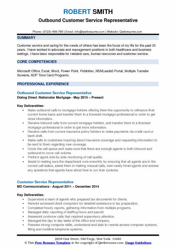 Outbound Customer Service Representative Resume Samples QwikResume - Customer Representative Resume