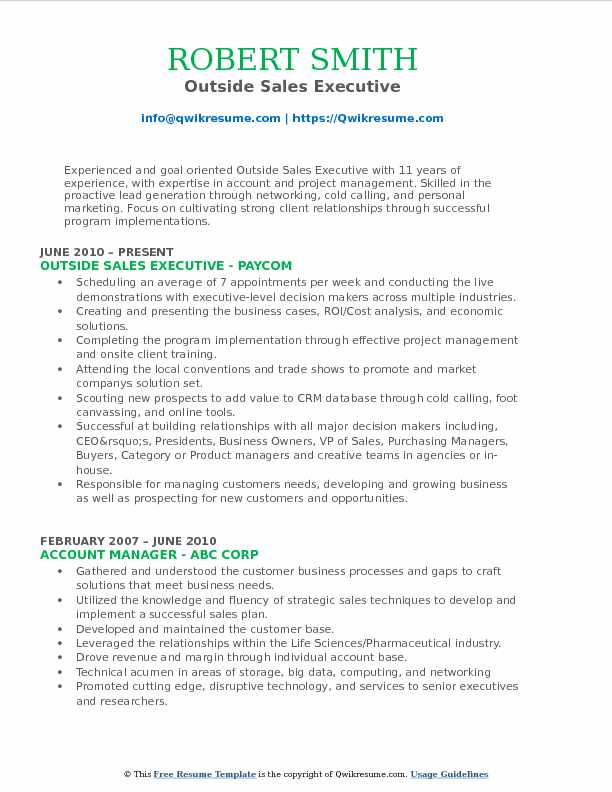 Outside Sales Resume Example - Resume Examples | Resume Template