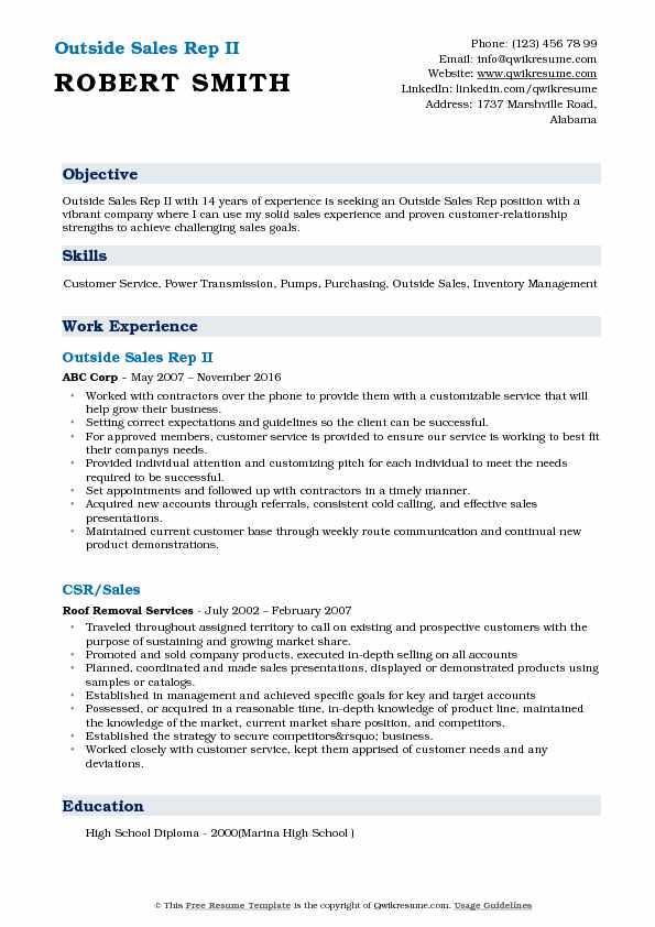 Outside Sales Rep Resume Samples QwikResume - outside sales resume