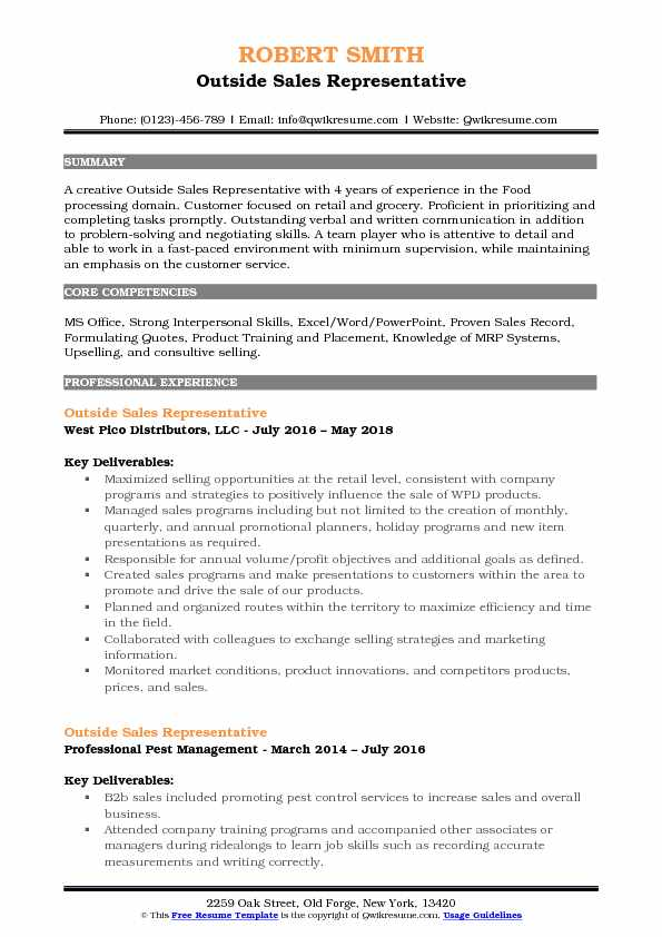 resume with description of company