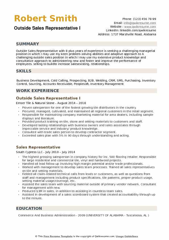 resume examples outside sales summary