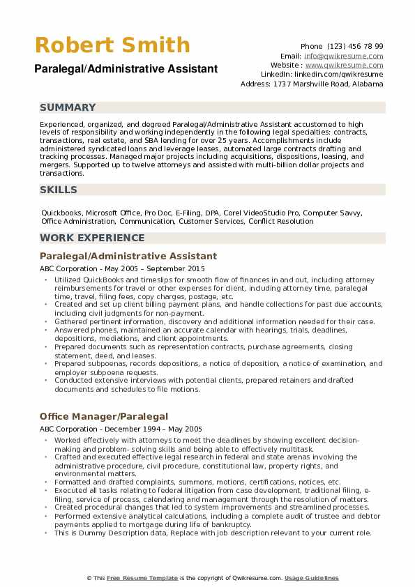 paralegal personal injury resume sample
