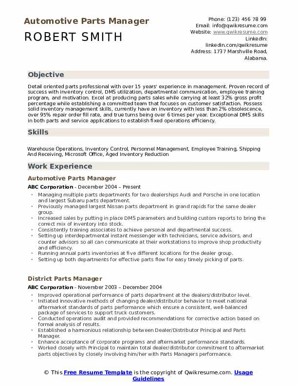 spare parts manager resume sample
