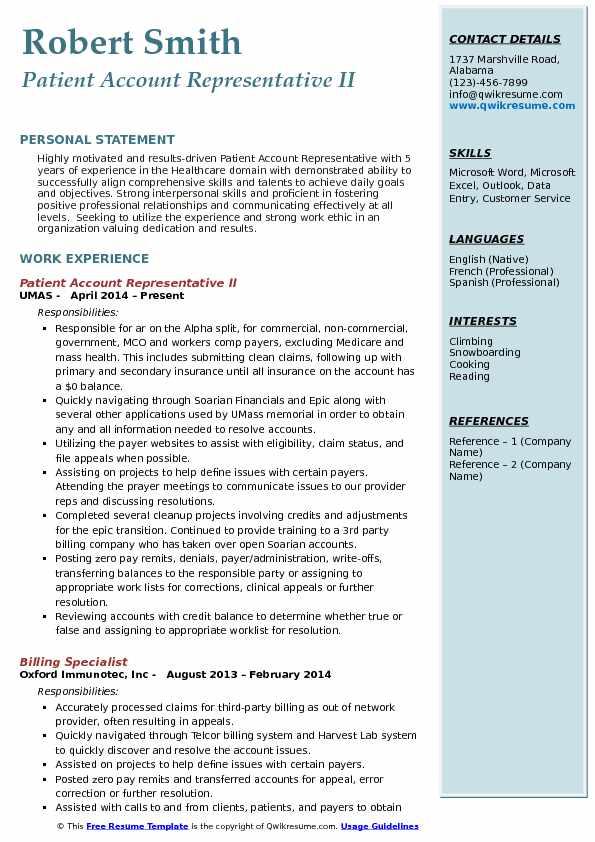 account representative resume