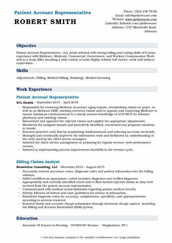 Patient Account Representative Resume - wwwnmdnconference