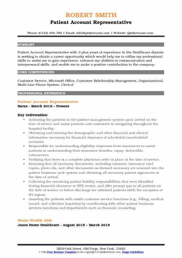 patient account representative resume example