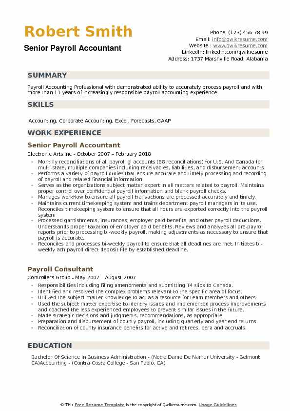 Payroll Accountant Resume Samples QwikResume - payroll accountant sample resume