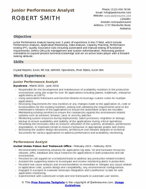 Performance Analyst Resume Samples QwikResume