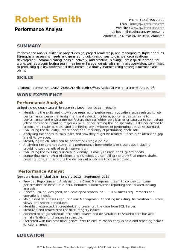 Performance Analyst Resume Samples QwikResume