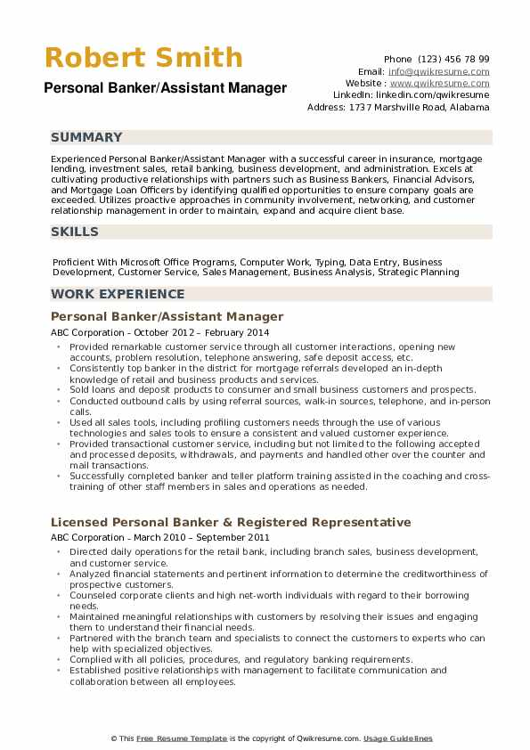 bank of america personal banker sample resume