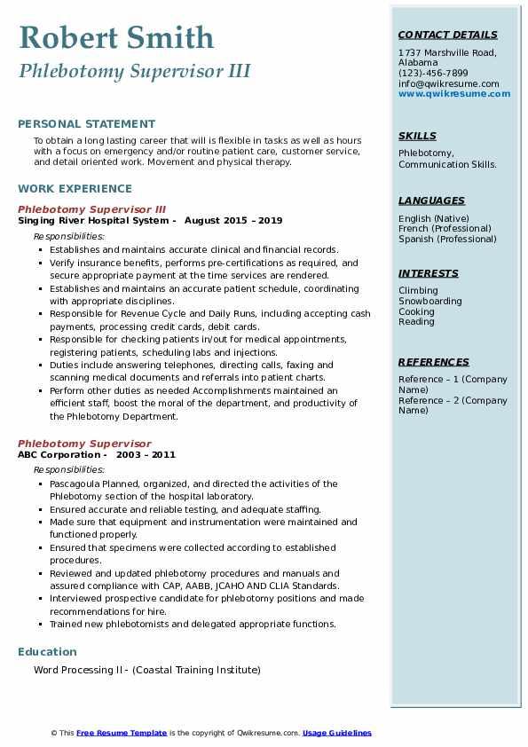 phlebotomy supervisor resume sample