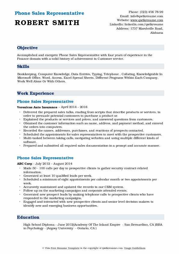 Phone Sales Representative Resume Samples QwikResume - phone skills resume