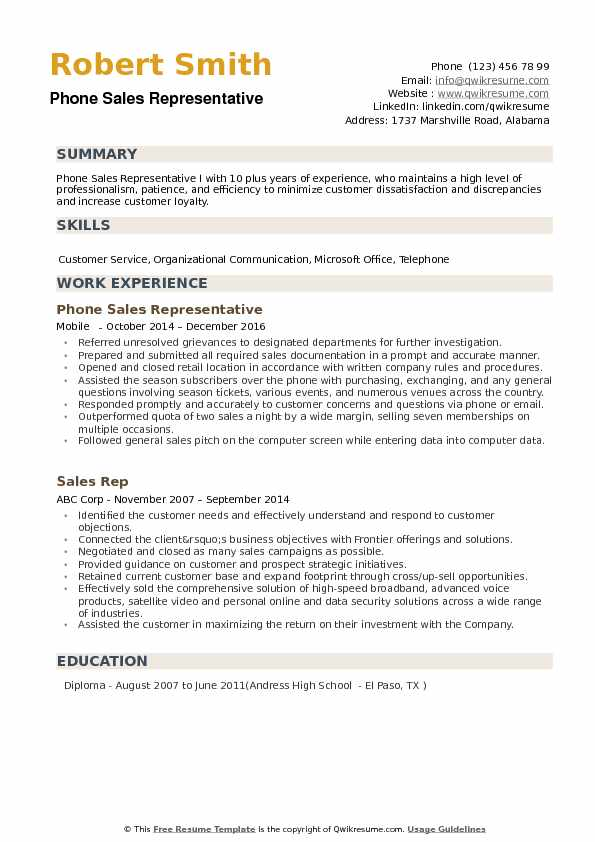 Phone Sales Representative Resume Samples QwikResume - telephone sales representative sample resume