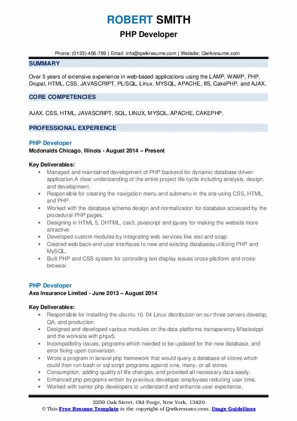 PHP Developer Resume Samples QwikResume