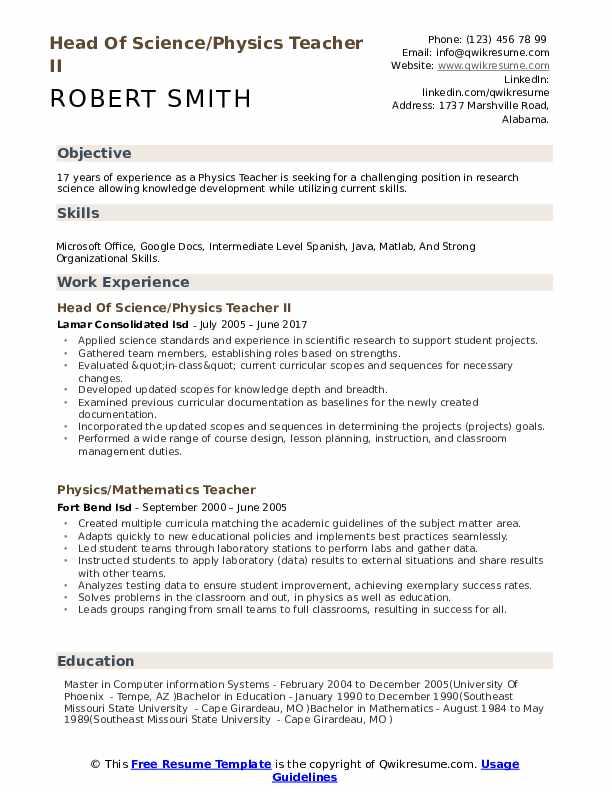 objective for physics teacher resume