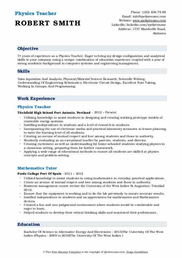 physics resume template download