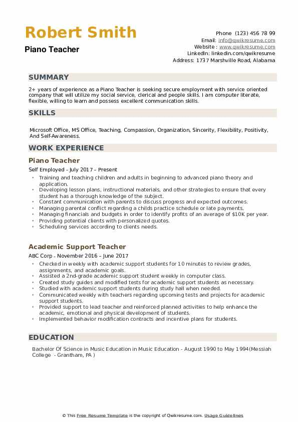 Piano Teacher Resume Samples QwikResume