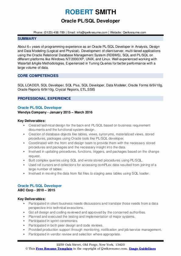 resume headline for pl sql developer