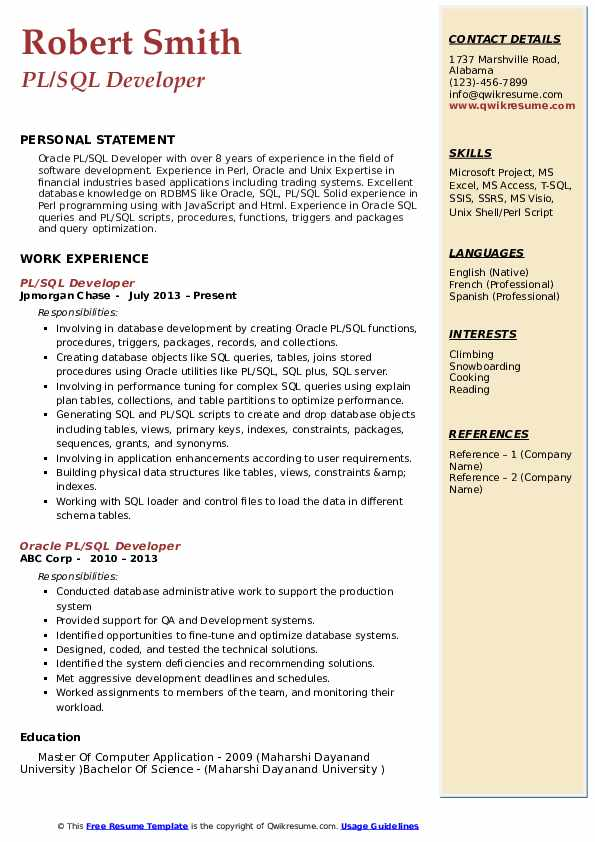 sql database developer resume sample