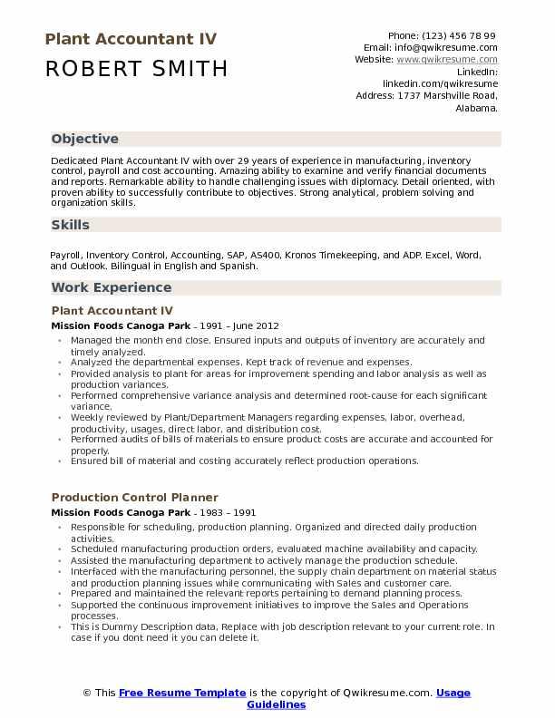 Plant Accountant Resume Samples QwikResume