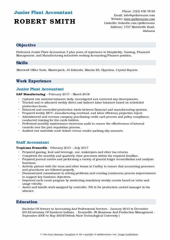Plant Accountant Resume Samples QwikResume - plant accountant sample resume
