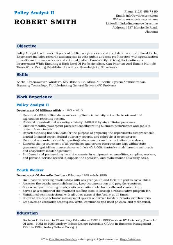 Policy Analyst Resume Samples QwikResume