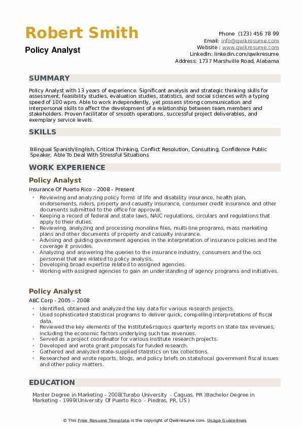 sample resume for public policy analyst