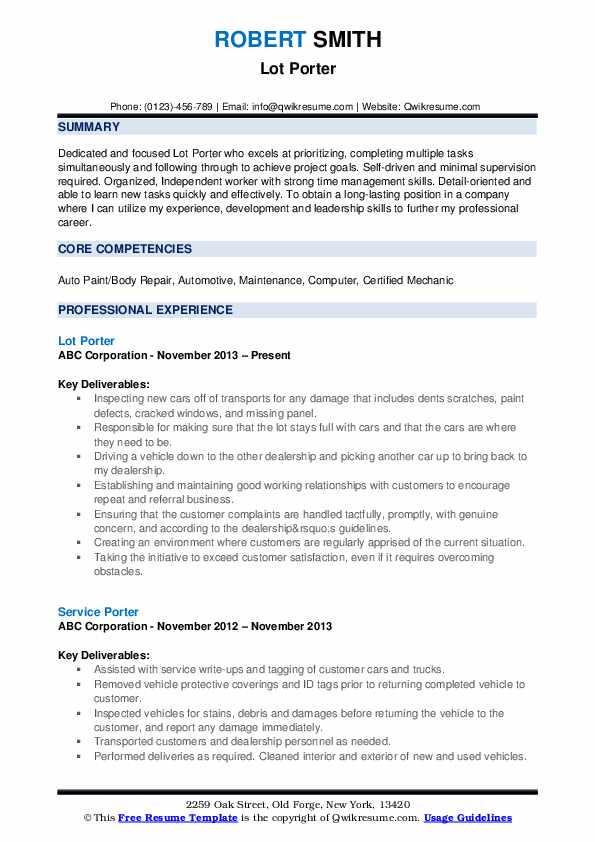 lot porter resume sample