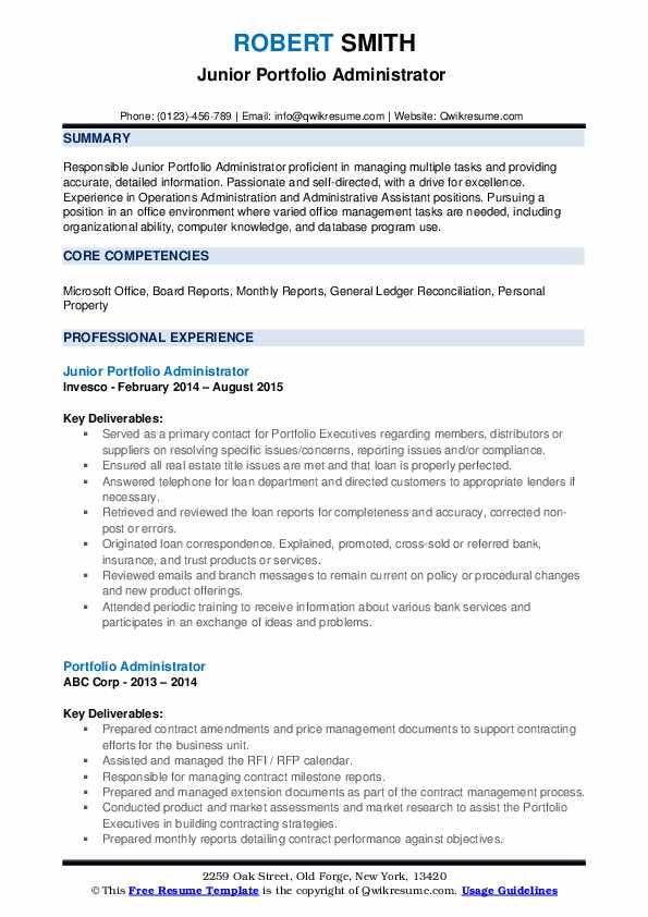 Portfolio Administrator Resume Samples QwikResume
