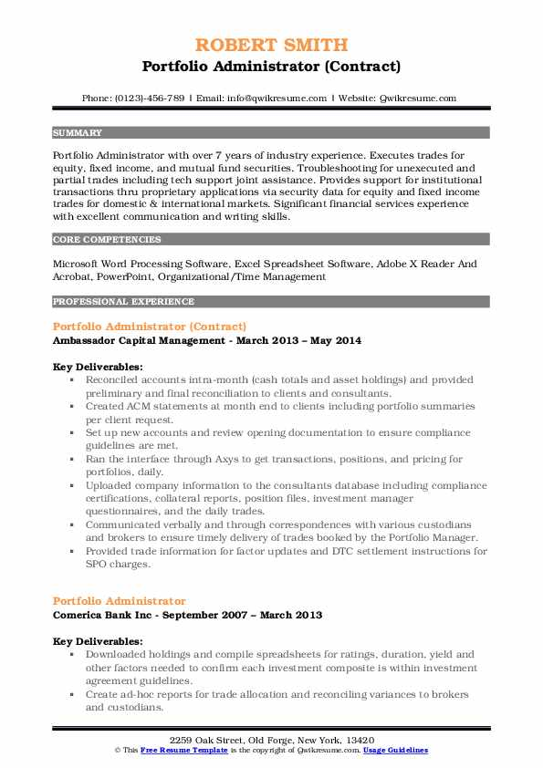 Template Galleryfund administrator resume benefits administrator