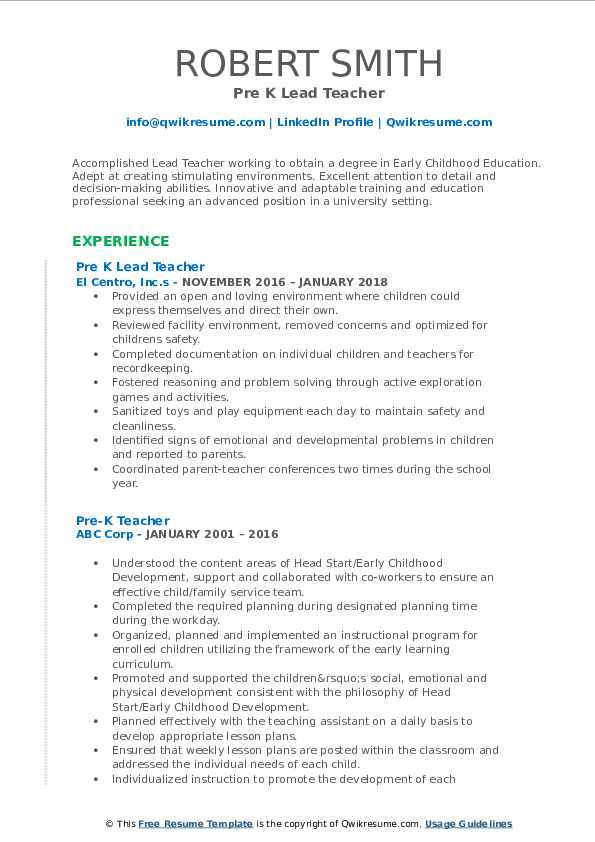 Pre K Lead Teacher Resume Samples QwikResume - Pre K Teacher Resume