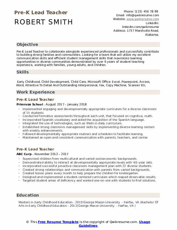 Pre K Lead Teacher Resume Samples QwikResume