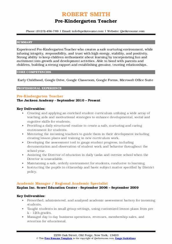 resume description for a kindergarten teacher
