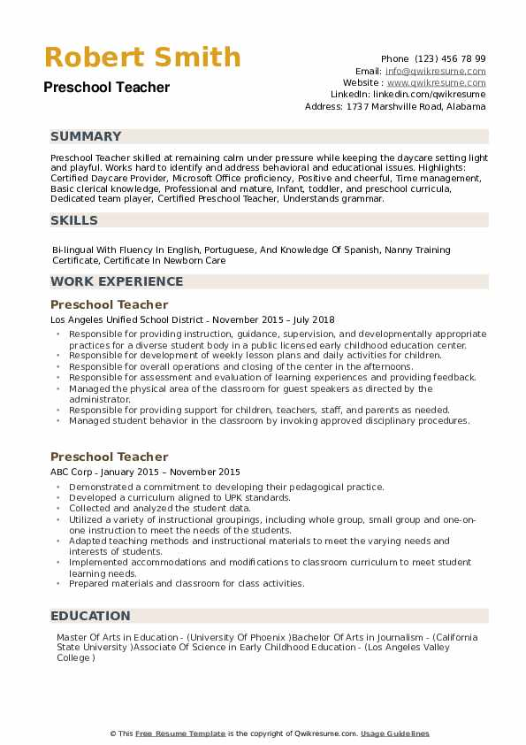 Preschool Teacher Resume Samples QwikResume